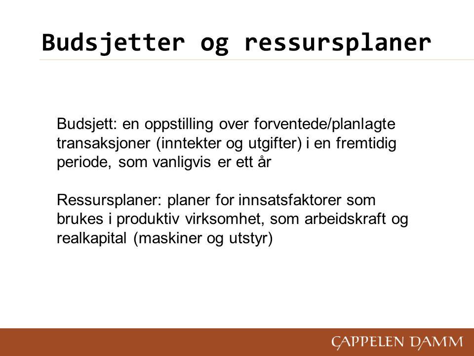 Budsjetter og ressursplaner Budsjett: en oppstilling over forventede/planlagte transaksjoner (inntekter og utgifter) i en fremtidig periode, som vanli