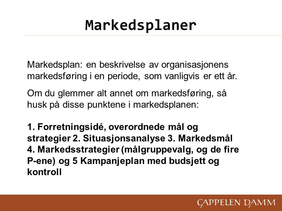Markedsplaner Markedsplan: en beskrivelse av organisasjonens markedsføring i en periode, som vanligvis er ett år. Om du glemmer alt annet om markedsfø