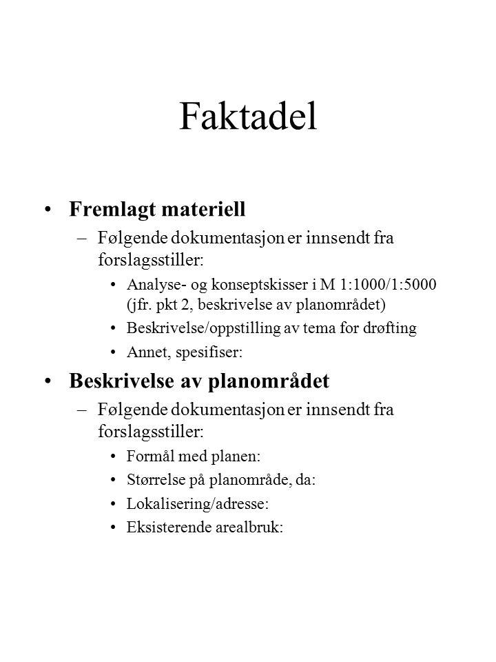 Faktadel Fremlagt materiell –Følgende dokumentasjon er innsendt fra forslagsstiller: Analyse- og konseptskisser i M 1:1000/1:5000 (jfr.