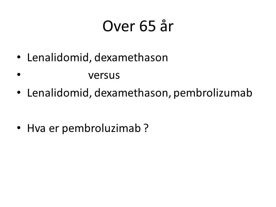 Over 65 år Lenalidomid, dexamethason versus Lenalidomid, dexamethason, pembrolizumab Hva er pembroluzimab ?