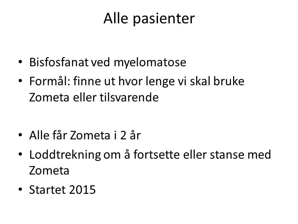 Alle pasienter Bisfosfanat ved myelomatose Formål: finne ut hvor lenge vi skal bruke Zometa eller tilsvarende Alle får Zometa i 2 år Loddtrekning om å