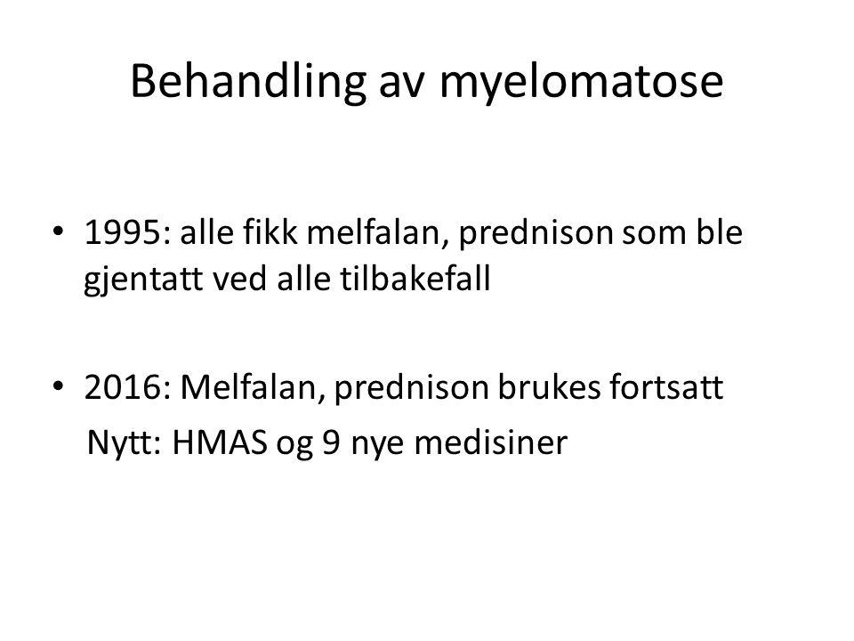 Behandling av myelomatose 1995: alle fikk melfalan, prednison som ble gjentatt ved alle tilbakefall 2016: Melfalan, prednison brukes fortsatt Nytt: HM