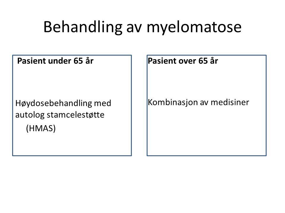 Behandling av myelomatose Pasient under 65 år Høydosebehandling med autolog stamcelestøtte (HMAS) Pasient over 65 år Kombinasjon av medisiner