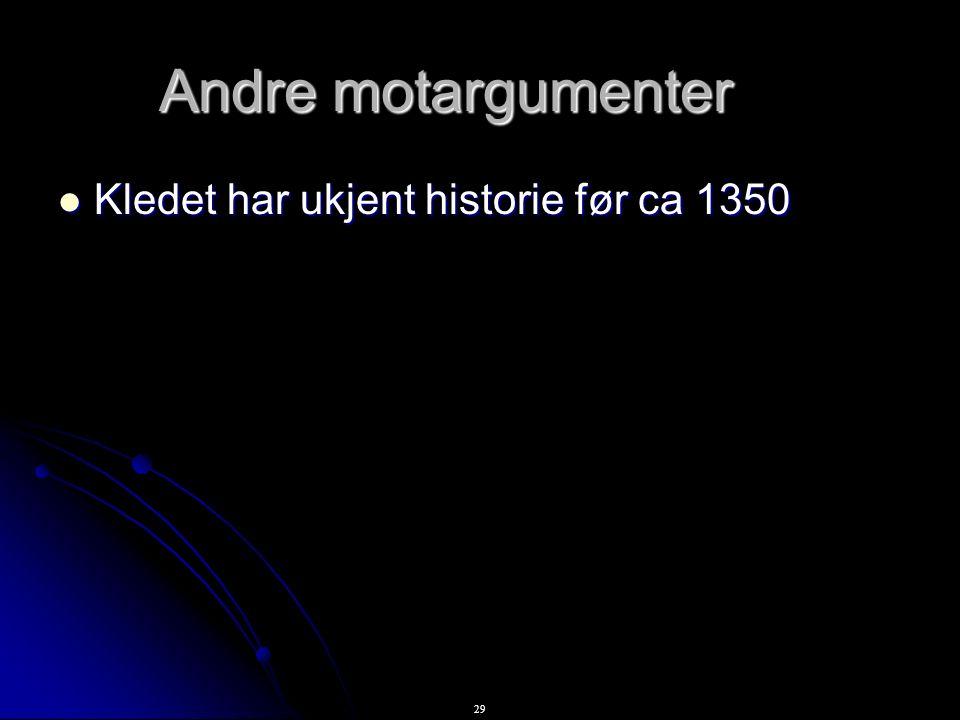 29 Andre motargumenter Kledet har ukjent historie før ca 1350 Kledet har ukjent historie før ca 1350
