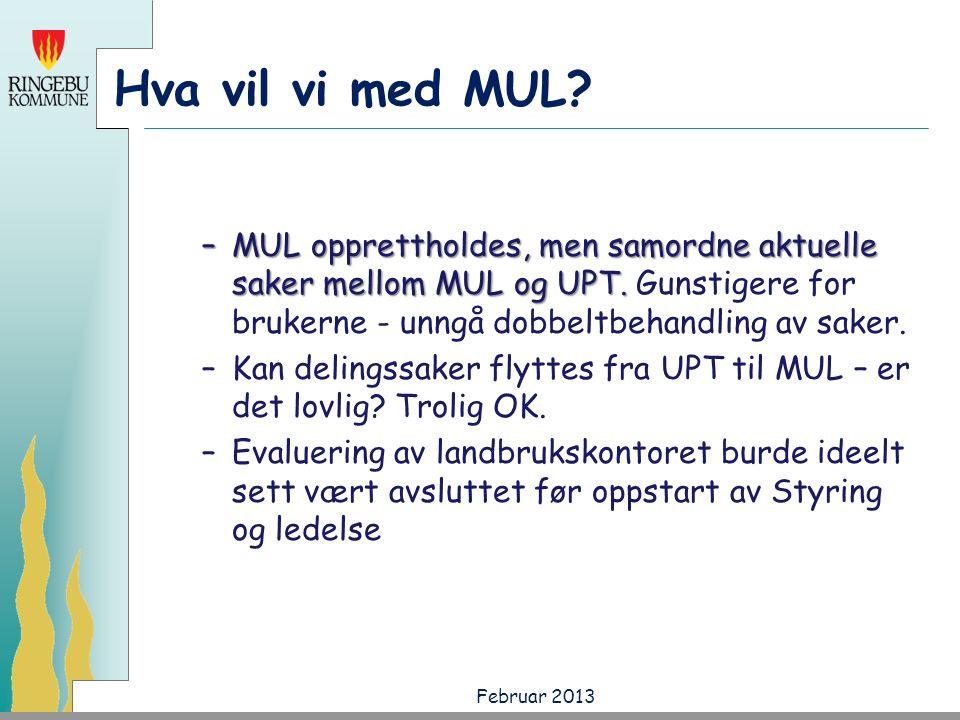 Hva vil vi med MUL. –MUL opprettholdes, men samordne aktuelle saker mellom MUL og UPT.
