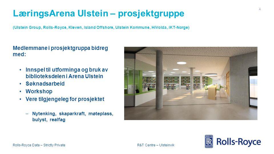Rolls-Royce Data – Strictly Private R&T Centre – Ulsteinvik LæringsArena Ulstein – prosjektgruppe (Ulstein Group, Rolls-Royce, Kleven, Island Offshore, Ulstein Kommune, HiVolda, IKT-Norge) 4 Medlemmane i prosjektgruppa bidreg med: Innspel til utforminga og bruk av biblioteksdelen i Arena Ulstein Søknadsarbeid Workshop Vere tilgjengeleg for prosjektet –Nytenking, skaparkraft, møteplass, bulyst, realfag