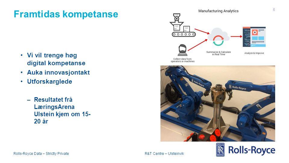 Rolls-Royce Data – Strictly Private R&T Centre – Ulsteinvik Framtidas kompetanse 6 Vi vil trenge høg digital kompetanse Auka innovasjontakt Utforskarglede –Resultatet frå LæringsArena Ulstein kjem om 15- 20 år