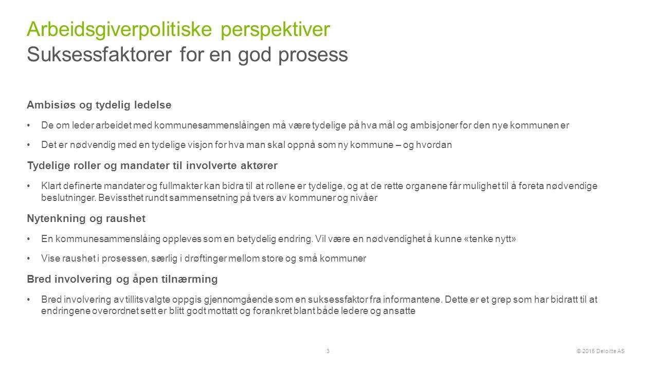 © 2015 Deloitte AS En overordnet tidslinje Arbeidsgiverpolitiske perspektiver 4