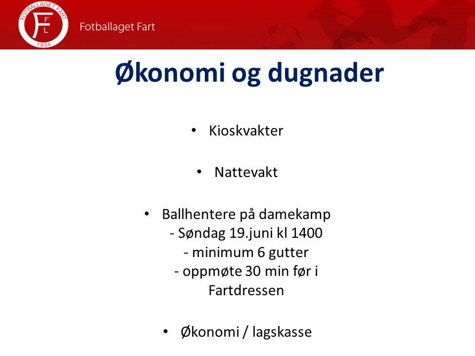 Økonomi og dugnader Kioskvakter Nattevakt Ballhentere på damekamp - Søndag 19.juni kl 1400 - minimum 6 gutter - oppmøte 30 min før i Fartdressen Økonomi / lagskasse