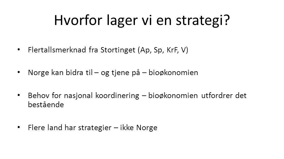 Hvorfor lager vi en strategi? Flertallsmerknad fra Stortinget (Ap, Sp, KrF, V) Norge kan bidra til – og tjene på – bioøkonomien Behov for nasjonal koo