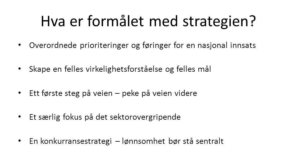 Hva er formålet med strategien? Overordnede prioriteringer og føringer for en nasjonal innsats Skape en felles virkelighetsforståelse og felles mål Et