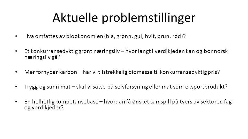 Aktuelle problemstillinger Hva omfattes av bioøkonomien (blå, grønn, gul, hvit, brun, rød).