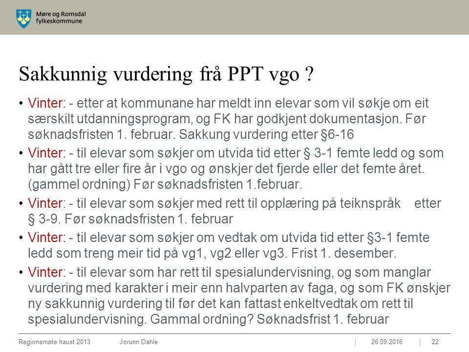 Sakkunnig vurdering frå PPT vgo .