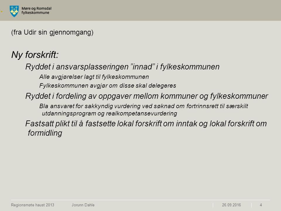 """. (fra Udir sin gjennomgang) Ny forskrift: Ryddet i ansvarsplasseringen """"innad"""" i fylkeskommunen Alle avgjørelser lagt til fylkeskommunen Fylkeskommun"""