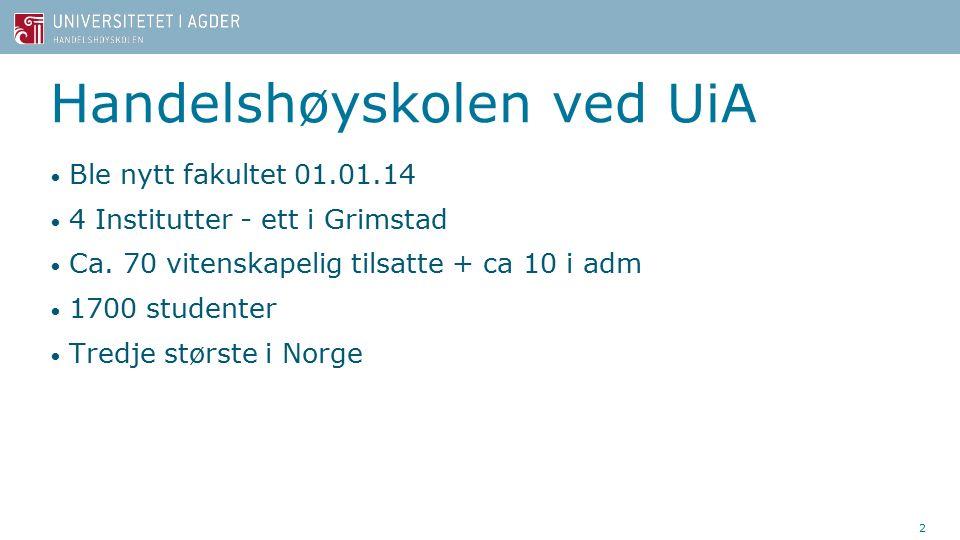 Handelshøyskolen ved UiA Ble nytt fakultet 01.01.14 4 Institutter - ett i Grimstad Ca.