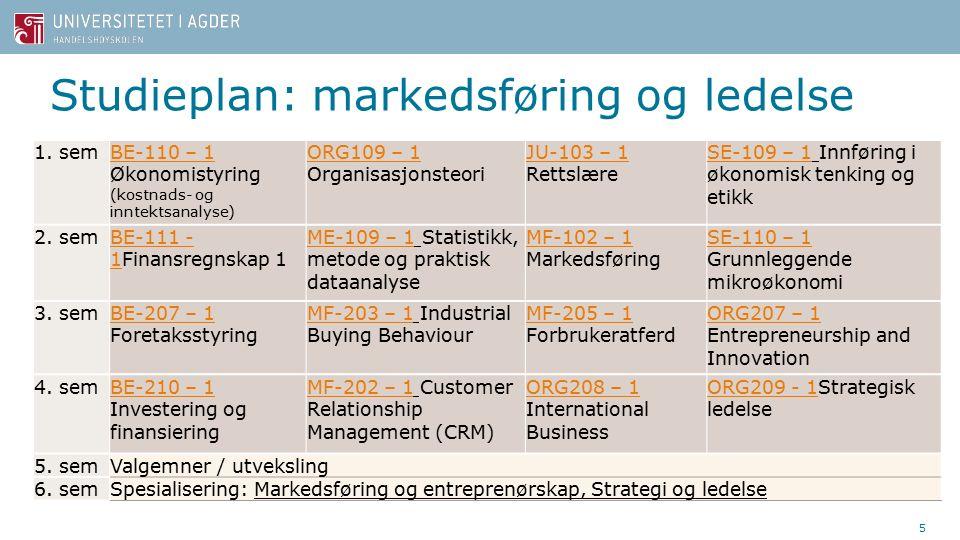 Studieplan: markedsføring og ledelse 5 1.