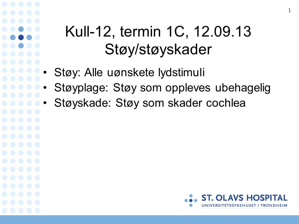 1 Kull-12, termin 1C, 12.09.13 Støy/støyskader Støy: Alle uønskete lydstimuli Støyplage: Støy som oppleves ubehagelig Støyskade: Støy som skader cochlea
