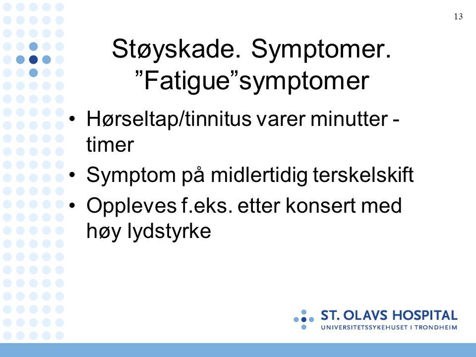 13 Støyskade. Symptomer.
