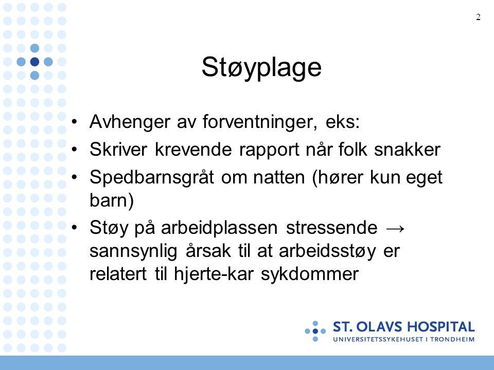 3 Støyskade Støyen sterk nok til å gi midlertidig eller permanent skade av hårcellene i cochlea.