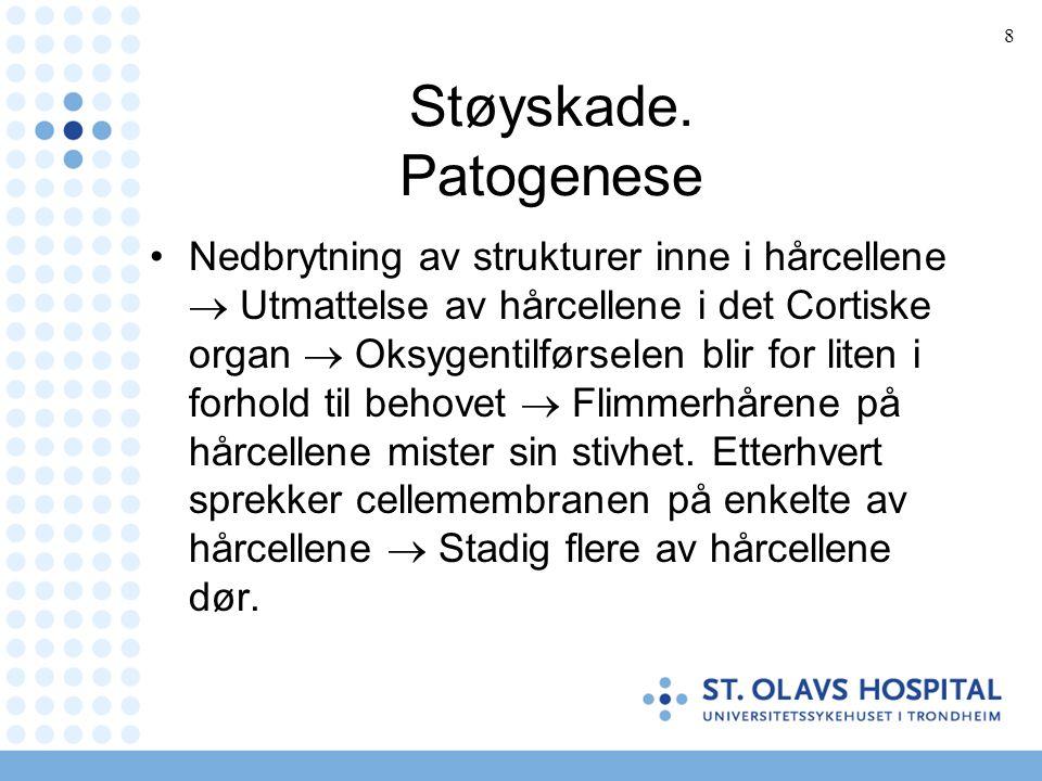9 Støyskade.Patogenese.2 forskjellige konsekvenser: Midlertidig terskelskift, dvs.