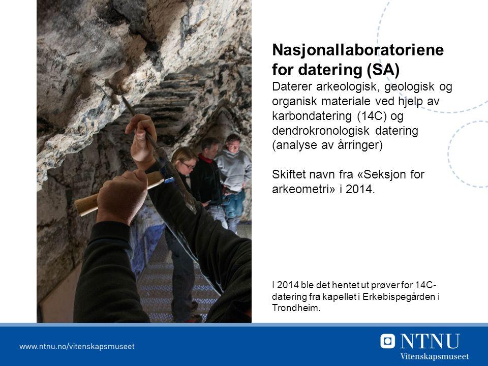 Nasjonallaboratoriene for datering (SA) Daterer arkeologisk, geologisk og organisk materiale ved hjelp av karbondatering (14C) og dendrokronologisk datering (analyse av årringer) Skiftet navn fra «Seksjon for arkeometri» i 2014.