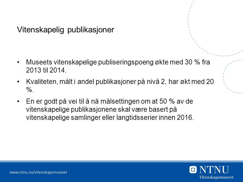 Vitenskapelig publikasjoner Museets vitenskapelige publiseringspoeng økte med 30 % fra 2013 til 2014.