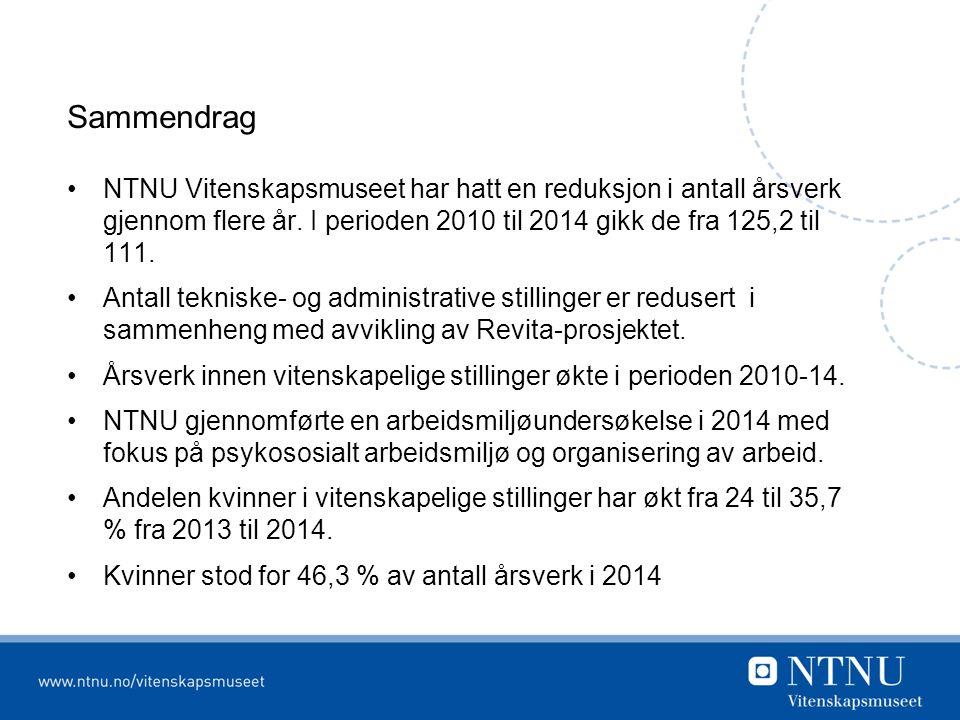 Sammendrag NTNU Vitenskapsmuseet har hatt en reduksjon i antall årsverk gjennom flere år.