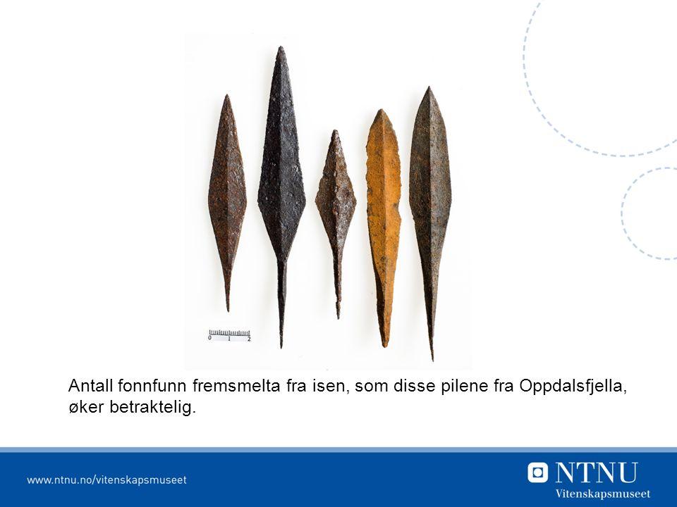Antall fonnfunn fremsmelta fra isen, som disse pilene fra Oppdalsfjella, øker betraktelig.