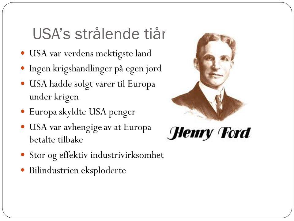 USA's strålende tiår USA var verdens mektigste land Ingen krigshandlinger på egen jord USA hadde solgt varer til Europa under krigen Europa skyldte US