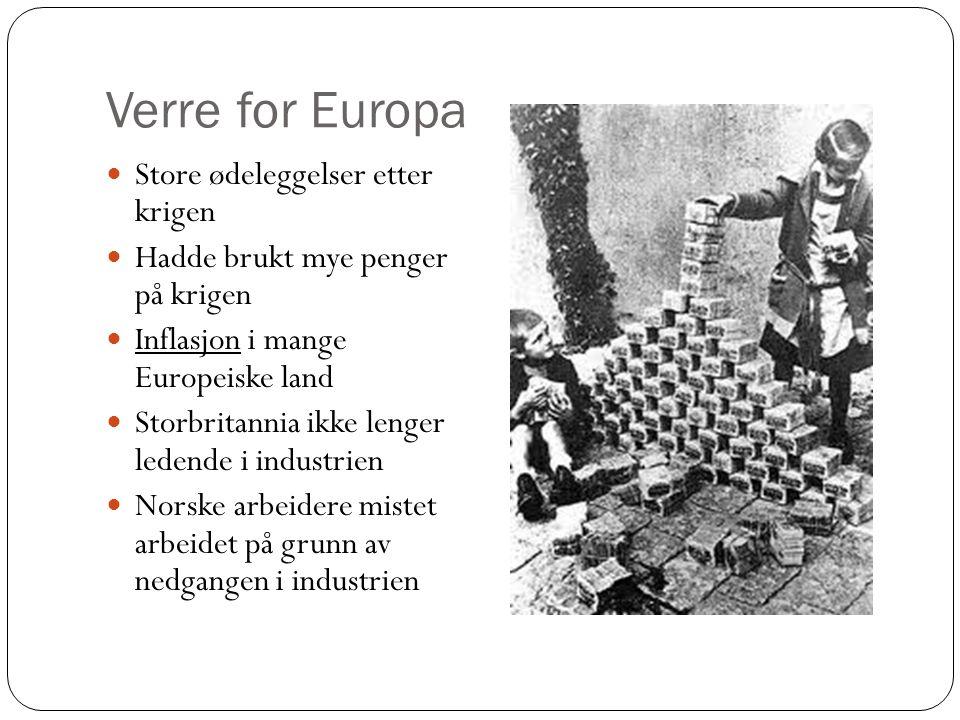 Ikke inflasjon i Norge – varene ble dyrere Rundt 1925 ble Europas økonomi bedre I land med høy inflasjon mistet folk alle sparepengene sine De som hadde gjeld kunne betale alt Europa lånte penger av USA for å klare seg