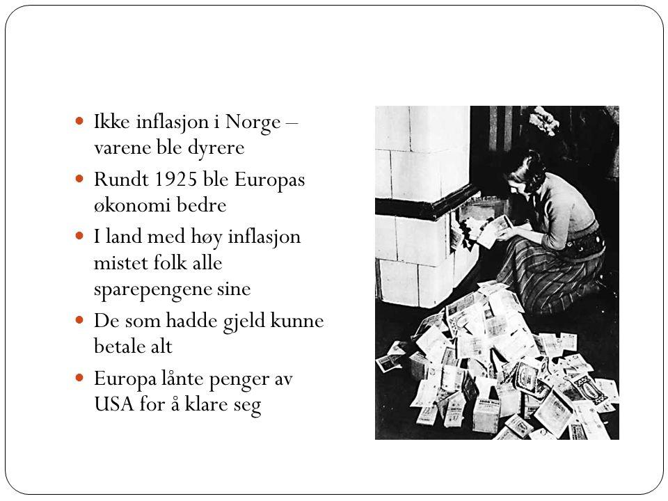 Ikke inflasjon i Norge – varene ble dyrere Rundt 1925 ble Europas økonomi bedre I land med høy inflasjon mistet folk alle sparepengene sine De som had