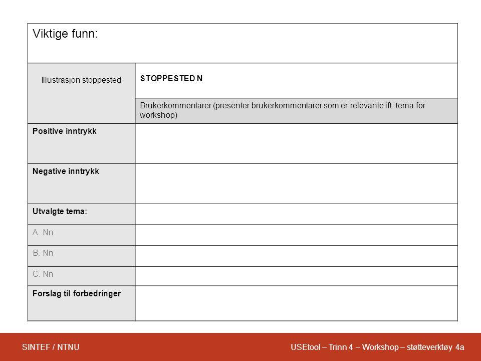 USEtool – Trinn 4 – Workshop – støtteverktøy 4aSINTEF / NTNU Viktige funn: Illustrasjon stoppested STOPPESTED N Brukerkommentarer (presenter brukerkommentarer som er relevante ift.
