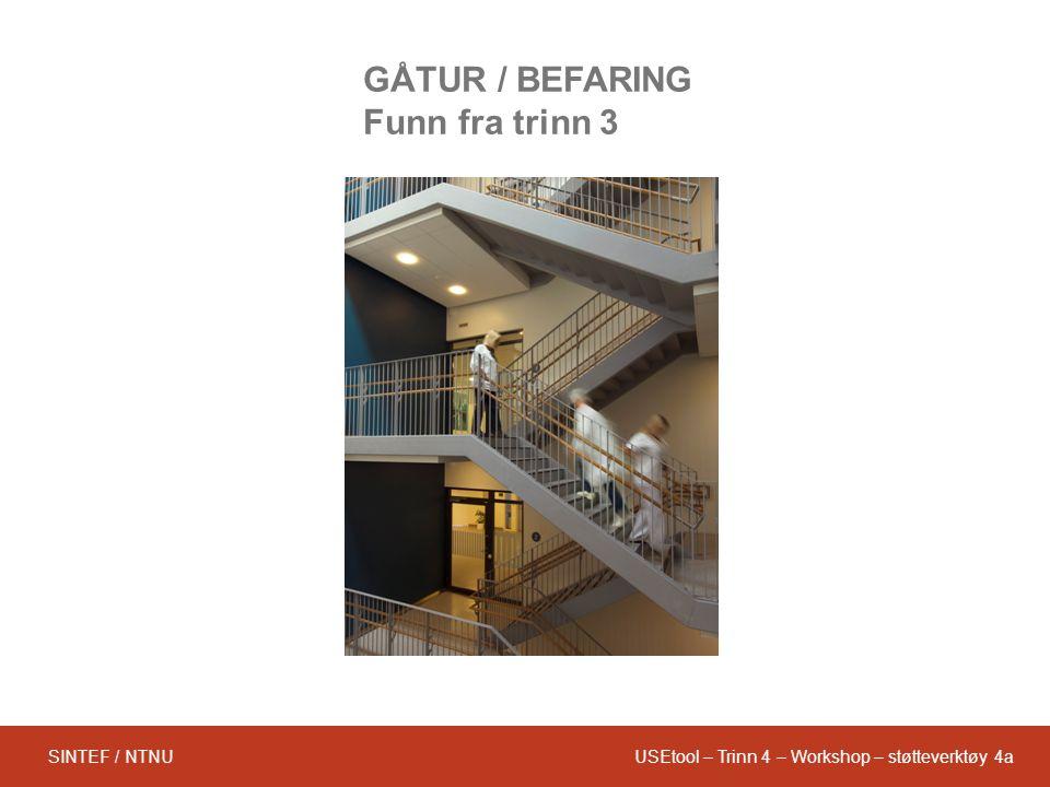 USEtool – Trinn 4 – Workshop – støtteverktøy 4aSINTEF / NTNU GÅTUR / BEFARING Funn fra trinn 3