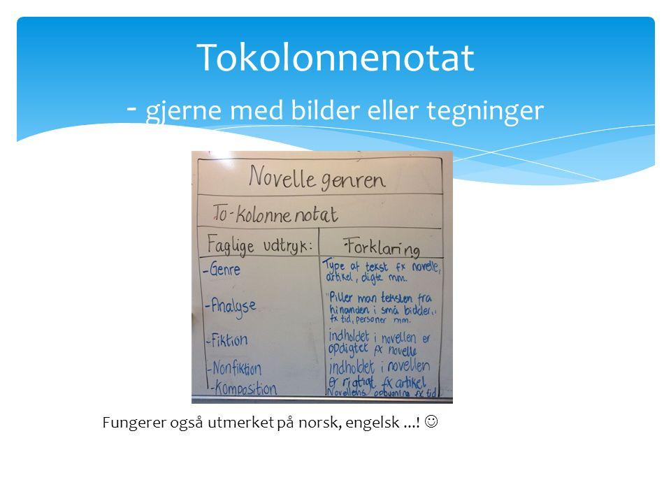 Tokolonnenotat - gjerne med bilder eller tegninger Fungerer også utmerket på norsk, engelsk...!