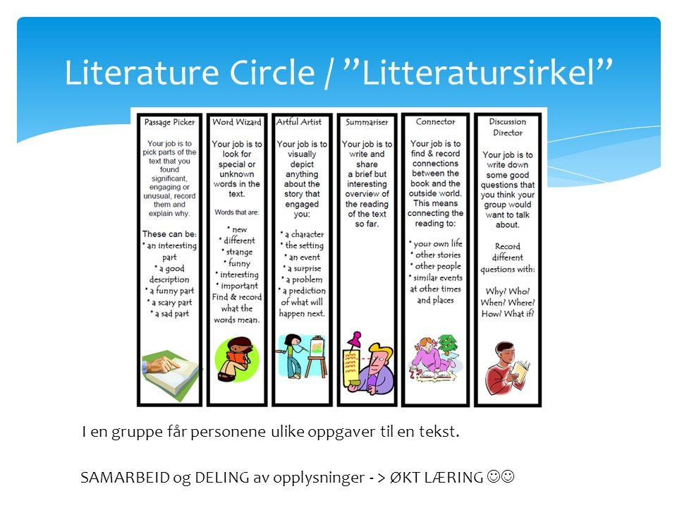 """Literature Circle / """"Litteratursirkel"""" I en gruppe får personene ulike oppgaver til en tekst. SAMARBEID og DELING av opplysninger - > ØKT LÆRING"""