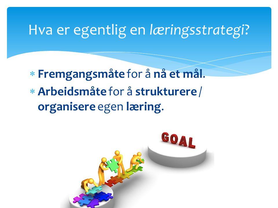  Fremgangsmåte for å nå et mål.  Arbeidsmåte for å strukturere / organisere egen læring.