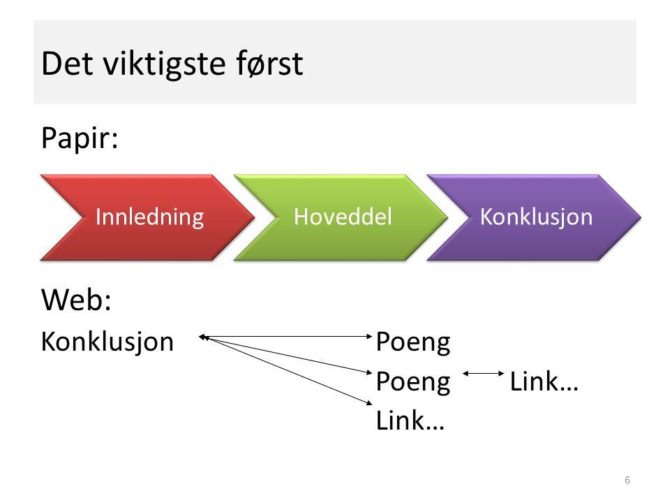 Det viktigste først Papir: Web: Konklusjon Poeng PoengLink… Link… 6 InnledningHoveddelKonklusjon