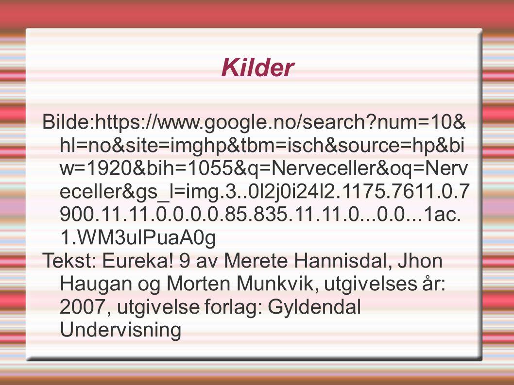 Kilder Bilde:https://www.google.no/search?num=10& hl=no&site=imghp&tbm=isch&source=hp&bi w=1920&bih=1055&q=Nerveceller&oq=Nerv eceller&gs_l=img.3..0l2