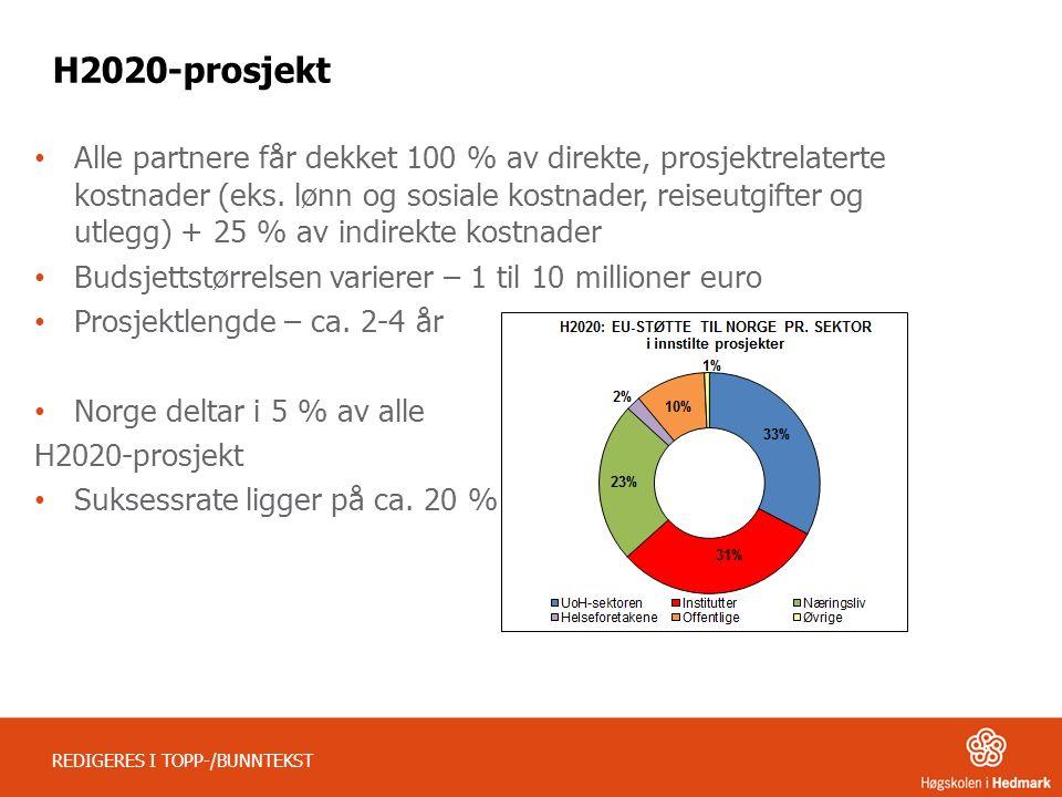 REDIGERES I TOPP-/BUNNTEKST H2020-prosjekt Alle partnere får dekket 100 % av direkte, prosjektrelaterte kostnader (eks. lønn og sosiale kostnader, rei