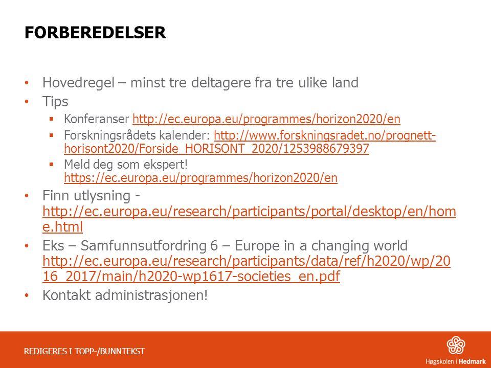 REDIGERES I TOPP-/BUNNTEKST FORBEREDELSER Hovedregel – minst tre deltagere fra tre ulike land Tips  Konferanser http://ec.europa.eu/programmes/horizo