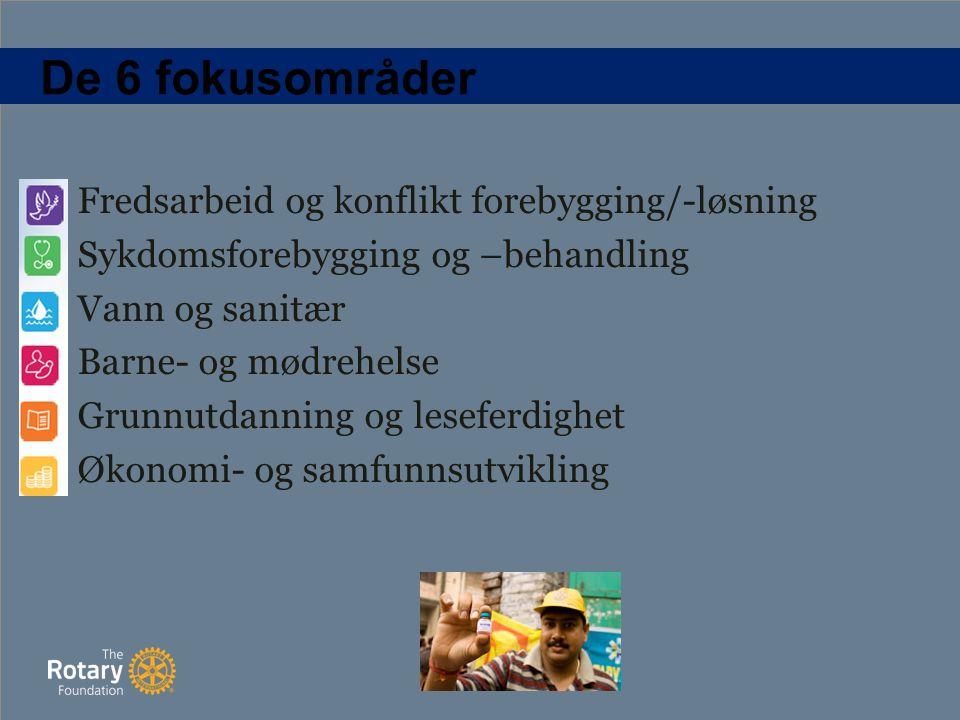 De 6 fokusområder Fredsarbeid og konflikt forebygging/-løsning Sykdomsforebygging og –behandling Vann og sanitær Barne- og mødrehelse Grunnutdanning og leseferdighet Økonomi- og samfunnsutvikling