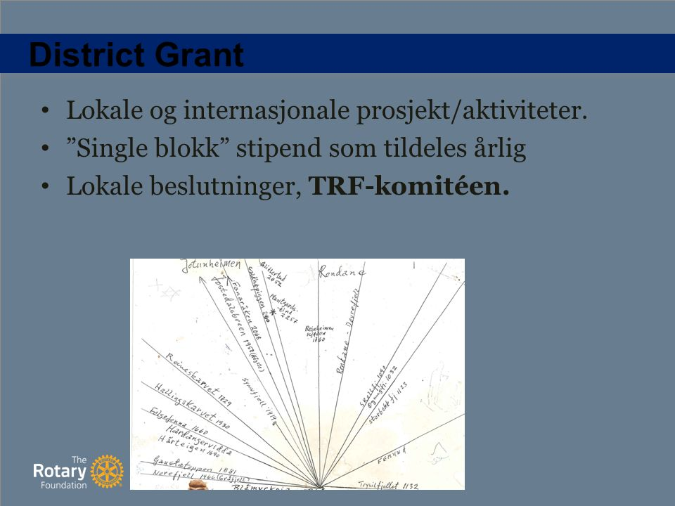 District Grant Lokale og internasjonale prosjekt/aktiviteter.