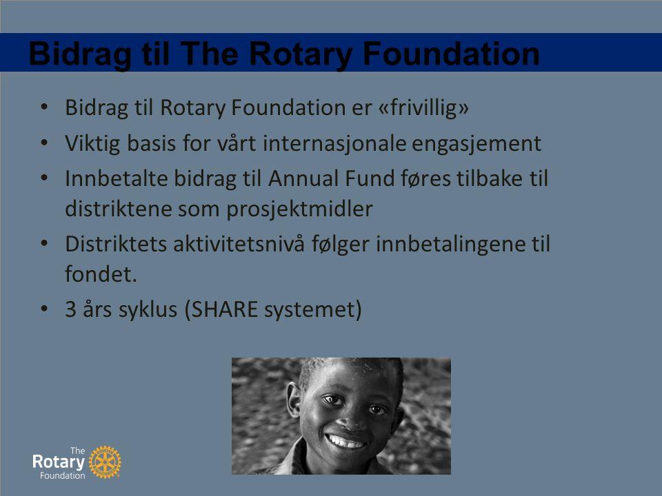 Bidrag til The Rotary Foundation Bidrag til Rotary Foundation er «frivillig» Viktig basis for vårt internasjonale engasjement Innbetalte bidrag til Annual Fund føres tilbake til distriktene som prosjektmidler Distriktets aktivitetsnivå følger innbetalingene til fondet.