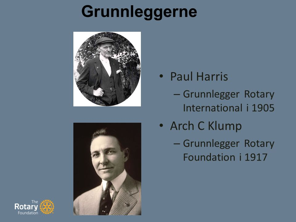 Grunnleggerne Paul Harris – Grunnlegger Rotary International i 1905 Arch C Klump – Grunnlegger Rotary Foundation i 1917