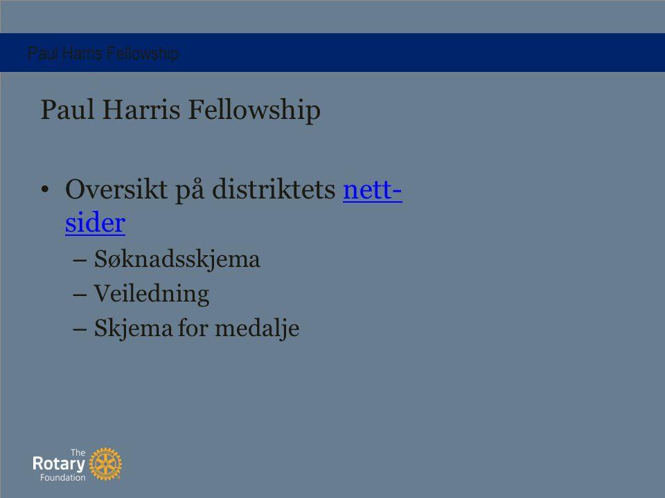 Paul Harris Fellowship Oversikt på distriktets nett- sidernett- sider – Søknadsskjema – Veiledning – Skjema for medalje