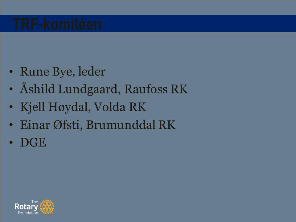 TRF-komitéen Rune Bye, leder Åshild Lundgaard, Raufoss RK Kjell Høydal, Volda RK Einar Øfsti, Brumunddal RK DGE