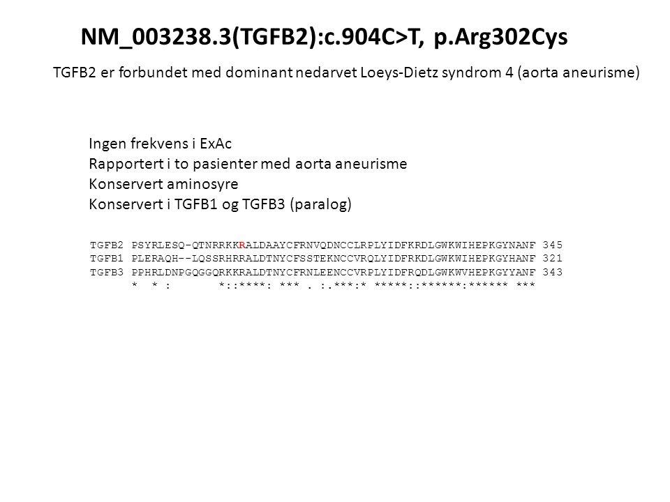 Ingen frekvens i ExAc Rapportert i to pasienter med aorta aneurisme Konservert aminosyre Konservert i TGFB1 og TGFB3 (paralog) TGFB2 PSYRLESQ-QTNRRKKRALDAAYCFRNVQDNCCLRPLYIDFKRDLGWKWIHEPKGYNANF 345 TGFB1 PLERAQH--LQSSRHRRALDTNYCFSSTEKNCCVRQLYIDFRKDLGWKWIHEPKGYHANF 321 TGFB3 PPHRLDNPGQGGQRKKRALDTNYCFRNLEENCCVRPLYIDFRQDLGWKWVHEPKGYYANF 343 * * : *::****: ***.