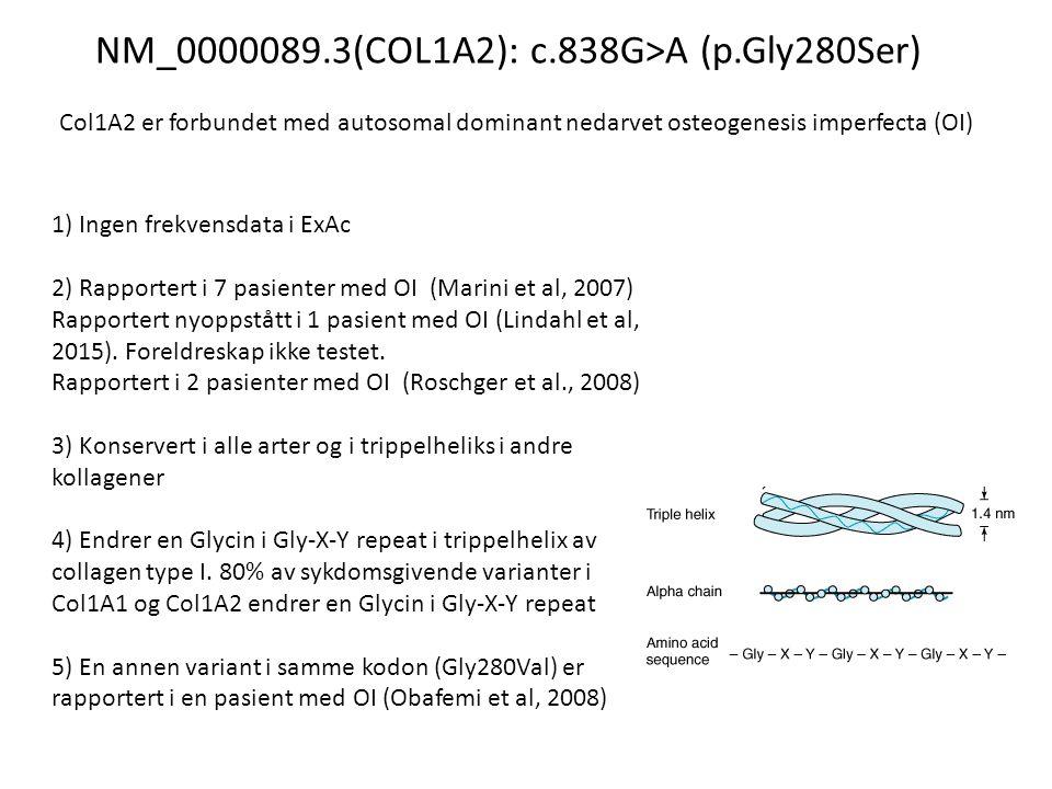 NM_0000089.3(COL1A2): c.838G>A (p.Gly280Ser) Col1A2 er forbundet med autosomal dominant nedarvet osteogenesis imperfecta (OI) 1) Ingen frekvensdata i ExAc 2) Rapportert i 7 pasienter med OI (Marini et al, 2007) Rapportert nyoppstått i 1 pasient med OI (Lindahl et al, 2015).