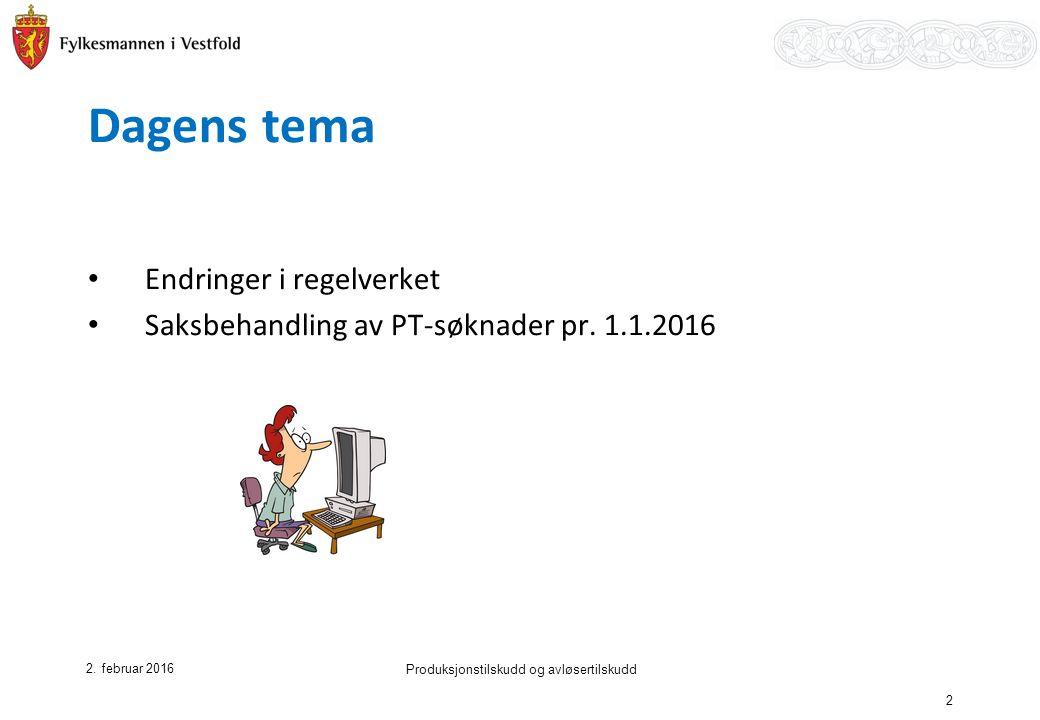 Dagens tema Endringer i regelverket Saksbehandling av PT-søknader pr.