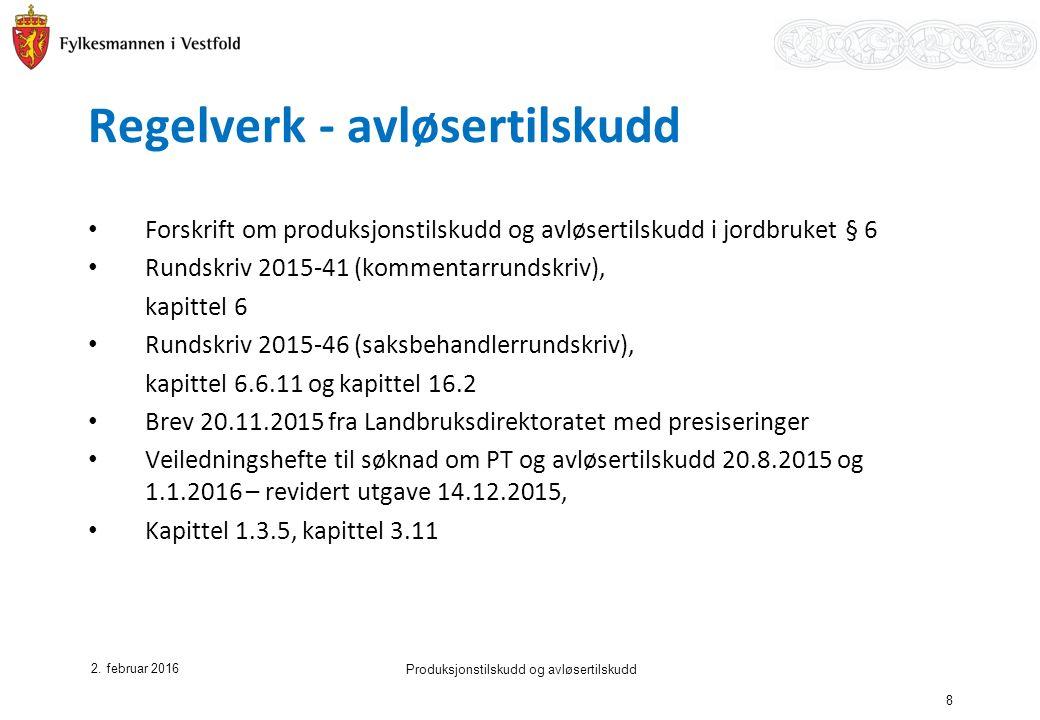 Regelverk - avløsertilskudd Forskrift om produksjonstilskudd og avløsertilskudd i jordbruket § 6 Rundskriv 2015-41 (kommentarrundskriv), kapittel 6 Rundskriv 2015-46 (saksbehandlerrundskriv), kapittel 6.6.11 og kapittel 16.2 Brev 20.11.2015 fra Landbruksdirektoratet med presiseringer Veiledningshefte til søknad om PT og avløsertilskudd 20.8.2015 og 1.1.2016 – revidert utgave 14.12.2015, Kapittel 1.3.5, kapittel 3.11 2.